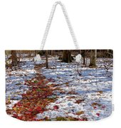 Red Leaves On Snow - Cabin In The Woods Weekender Tote Bag
