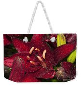 Red Lily Raindrops Weekender Tote Bag
