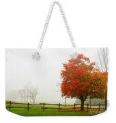 Red Maple Tree And A Split-rail Fence Weekender Tote Bag