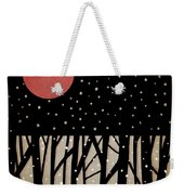 Red Moon And Snow Weekender Tote Bag by Carol Leigh