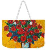 Red Passion Roses Weekender Tote Bag by Ana Maria Edulescu