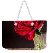 Red Peony Flower Vase Weekender Tote Bag by Edward Fielding