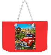 Red Pickup Truck At Santa Fe Weekender Tote Bag