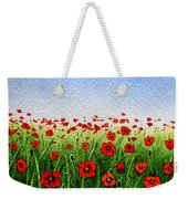 Red Poppies Green Field And A Blue Blue Sky Weekender Tote Bag