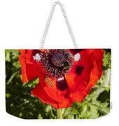 Red Poppy And Bee Weekender Tote Bag