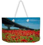 Red Poppy Field Near Highway Road Weekender Tote Bag