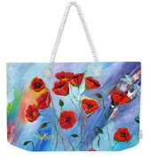 Red Poppy With Dragonfly Weekender Tote Bag