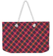 Red Purple And Green Diagonal Plaid Textile Background Weekender Tote Bag