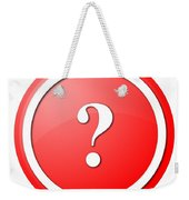Red Question Mark Round Button Weekender Tote Bag