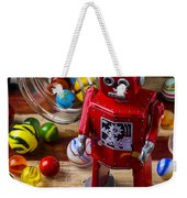 Red Robot And Marbles Weekender Tote Bag