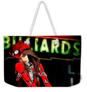 Red Robot On A Saturday Night  Weekender Tote Bag by Bob Orsillo