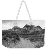 Red Rock Canyon Trailhead Black And White Weekender Tote Bag