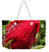 Red Rose Bud With Water Drops Weekender Tote Bag