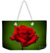 Red Rose Green Background Weekender Tote Bag