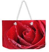 Red Rose Macro With Waterdrops Weekender Tote Bag