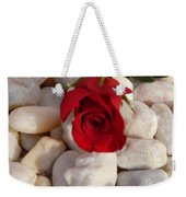 Red Rose On River Rocks Weekender Tote Bag