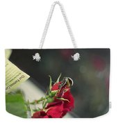 Red Roses And Visitor Weekender Tote Bag