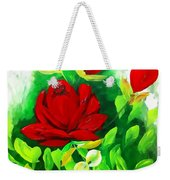 Red Roses From The Garden Impression Weekender Tote Bag