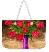 Red Roses In A Purple Vase Weekender Tote Bag