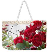 Red Roses Love And Lace Weekender Tote Bag