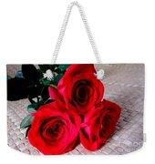 Red Roses On Lauhala Weekender Tote Bag
