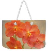 Red Scarlet Orchid On Grunge Weekender Tote Bag by Rudy Umans