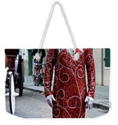 Red Sequined Mime Weekender Tote Bag by Kathleen K Parker