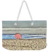 Red Striped Umbrella At The Beach Weekender Tote Bag