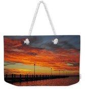 Red Sunset Pier Seaside Nj Weekender Tote Bag