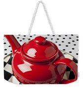 Red Teapot On Checkerboard Plate Weekender Tote Bag