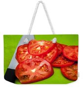 Red Tomato Slices And Knife On Green Chopping Board Weekender Tote Bag