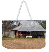 Red Tractor In A Tin Roofed Shed Weekender Tote Bag