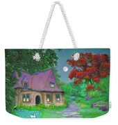 Red Tree Cottage At Dusk Weekender Tote Bag