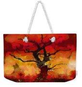Red Tree Of Life Weekender Tote Bag by Pixel Chimp