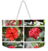 Red Tropicals Collage Weekender Tote Bag