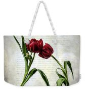 Red Tulips On A Letter Weekender Tote Bag