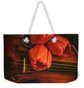 Red Tulips On A Violin Weekender Tote Bag