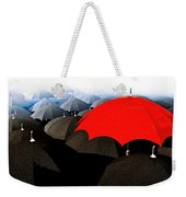 Red Umbrella In The City Weekender Tote Bag