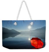 Red Umbrella On The Beach Weekender Tote Bag