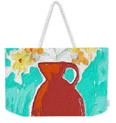 Red Vase Of Flowers Weekender Tote Bag