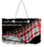 Red White And Blue Quilt With Quote Weekender Tote Bag