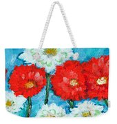 Red White And Blue Zinnia Flowers Weekender Tote Bag