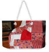 Red White And Gingham With Flowery Blocks Patchwork Quilt Weekender Tote Bag