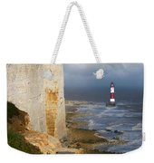 White Cliffs And Red-white Striped Lightouse In The Sea Weekender Tote Bag