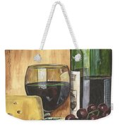 Red Wine And Cheese Weekender Tote Bag by Debbie DeWitt