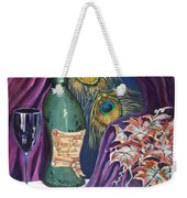 Red Wine And Peacock Feathers Weekender Tote Bag