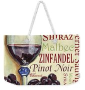 Red Wine Text Weekender Tote Bag by Debbie DeWitt