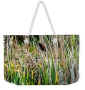 Red-winged Black Bird In The Cattails Weekender Tote Bag