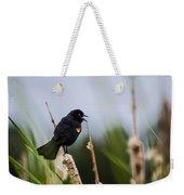 Red Winged Blackbird Singing Weekender Tote Bag