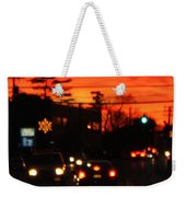 Red Winter Sunset Over Long Island Suburbs Weekender Tote Bag
